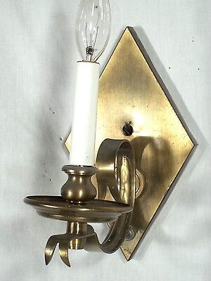 Pair Of Mid Century Modern Diamond Back Scrolled Arm Brass Sconces 4