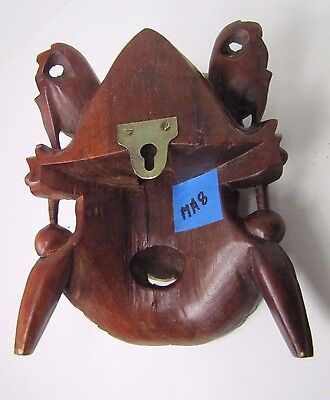 old Small Carved Asian Wood Man Devil Dogs Exquisite Detailing Eyes Teeth -ma8 10