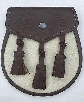 Mens Kilt Sporran Semi Dress Brown Leather Embossed/Leather Kilt Sporrans 2