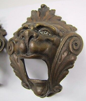 Antique Pair Bronze Monster Beast Lion Head Decorative Architectural Hardware 2 3