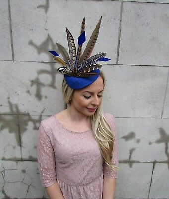 Large Royal Blue Brown Pheasant Feather Hat Fascinator Headband Races Ascot 5472 3