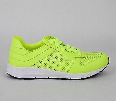 8ee2292bd ... New Gucci Mens Neon Yellow Leather Lace-up Running Sneakers 369088 7102  7