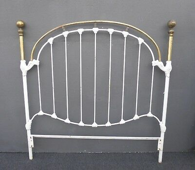 Vintage French Shabby Chic Cast Iron White Full Bed Frame Queen Headboard 3