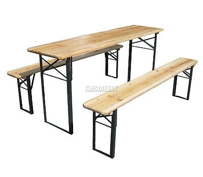 WestWood Outdoor Wooden Folding Beer Table Bench Set Trestle Garden Steel Leg 3