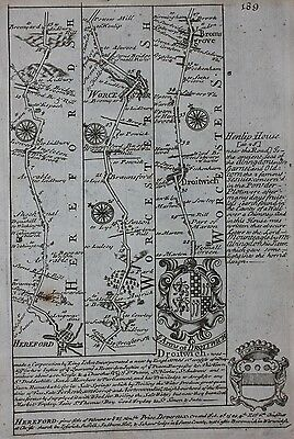 Original antique road map HEREFORD, WORCESTER, DROITWICH, Emanuel Bowen, 1724 2