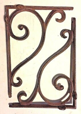 SET OF 4 LARGE RUSTIC  BROWN SCROLL BRACE/BRACKET vintage looking patina finish 6