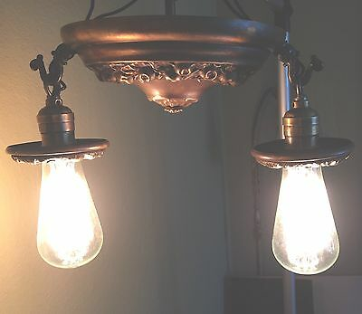 Vintage Antique Flush Mount Light Fixture Two Lights Two Socket Cluster Wired 3