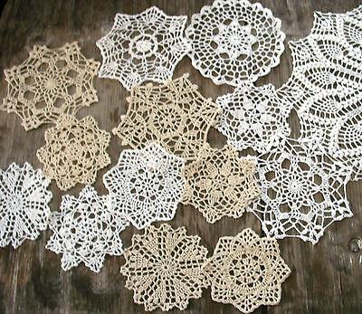 "lot of 14 Hand Crochet Doilies 5""-7""-14"" Wht & Natur VTG Wedding Tea Party NEW 2"
