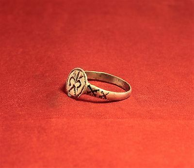 Medieval Knight's Silver Seal Ring - Lily Seal, 12. Century, Silver Inlay, Rare 6