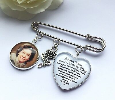 Groom Buttonhole Photo Memory Charm Message From Bride Grooms Gift Wedding 5