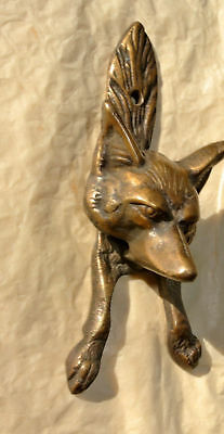 2 small FOX head old heavy front Door Knocker SOLID BRASS vintage old style B 7