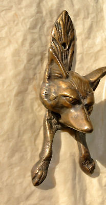 small FOX head old heavy front Door Knocker SOLID BRASS vintage antique style 3
