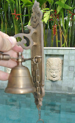 Front Door Bell pull chain solid brass old vintage style 26cm screws outdoor 3