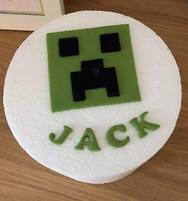 Amazing Edible Handmade Sugar Minecraft Creeper Personalised Birthday Cake Personalised Birthday Cards Paralily Jamesorg