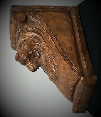 Lion Face Scroll Corbel Bracket Shelf Architectural Accent Wood Stained 2