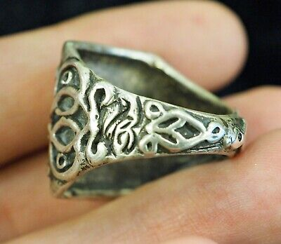 Antique intaglio Signet Tiger  Walking in a jungle Sterling Silver Power Ring 4
