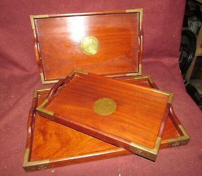 Set Chinese Old or Antique Hardwood Nesting Trays 20th century 4