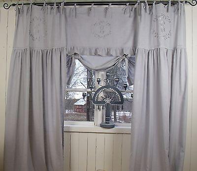 Raff Gardine CRYSTAL NY GRAU 180x90 Spitze bestickt LillaBelle Landhaus Curtain