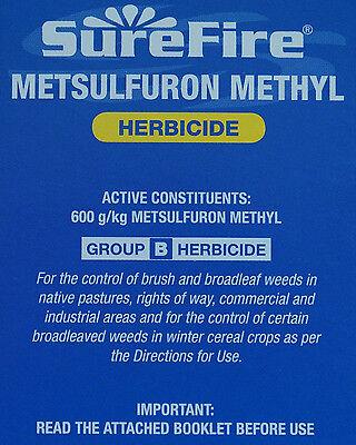 Weed Killer SureFire Metsulfuron Methyl Herbicide 500g (600g/KG) like Brush Off