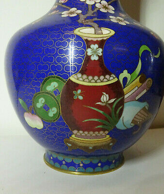 Alte Cloisonne Vase Email Top Blumen Flower alt China Asiatica 2