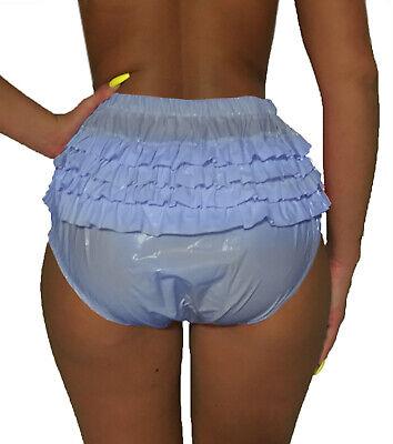 super soft PVC Rüschen Lack Optik Windelhose Adult Baby Rüschenhose Gummihose 3