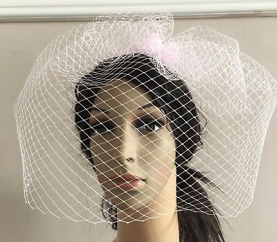pink fascinator french veiling veil hair clip wedding widow funural hat race 3