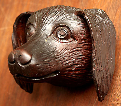"Part- 19th c Renaissance Victorian carved dog head, walnut, 4""w 2"