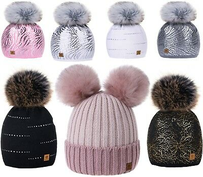 Kids Winter Beanie Hat Girls Children Knitted Girl Hats Worm Large Pom Pom Pearl 2