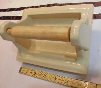"""Vintage...Spring Green...Recessed Ceramic Toilet Paper Holder /""""NOS/""""  Wood Roller"""