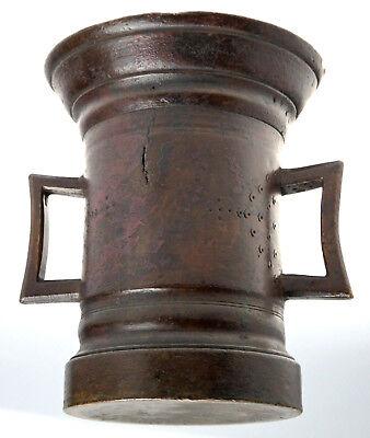 Bronze Mörser Gotische Henkel Form Gepunztes Dekor Süddeutsch Eisen Pistill 1600