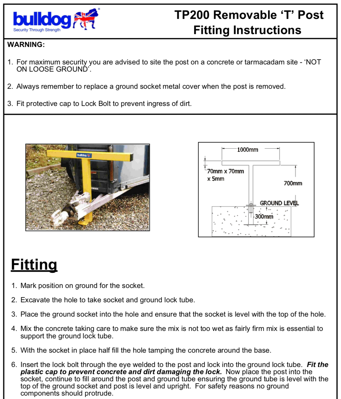 New Bulldog Anti-Theft Tp200 T Post For Securing Trailers Between The A Frame ✅ 3