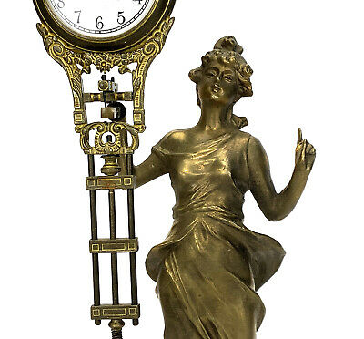 German Style Junghans Brass Diana Lady Figure 8 Day Swinging Swinger Clock 6