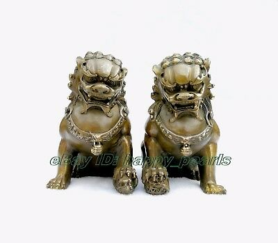 Chinese Brass Copper Animal Feng shui Foo Dog Lion town house Statue pair 14.5cm 2
