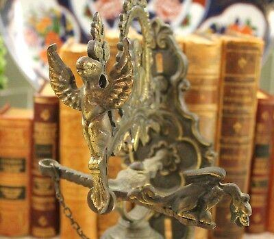 Antique English Hanging Brass Shop Bell Church Sanctuary Garden Gate Dinner Bell