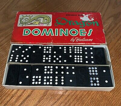 Vintage Dragon Dominoes Double Nine by Halsam 55  Piece Complete  Set w Instructions Great Condtion