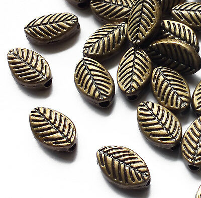 50 x Bronze Tone Metal Leaf Spacer Beads, 9.5mm x 5mm, Jewellery Craft, Leaves