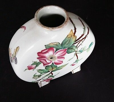 CHRISTOPHER DRESSER Minton Moon Flask Butterfly Roses 1870s Aesthetic Movement 2