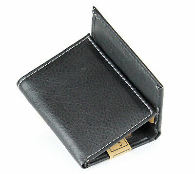 New Mens Trifold Genuine Leather Black Wallet Credit Card Case Window ID Holder 4