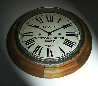 Great Western Railway GWR Retro Style Wooden Clock, Weston-Super-Mare Station 2
