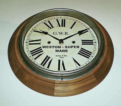 Great Western Railway GWR Retro Style Wooden Clock, Weston-Super-Mare Station 4