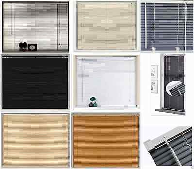 New PVC Blinds Window Venetian Easy Fit Blinds Home Office Wood Effect All Sizes 2
