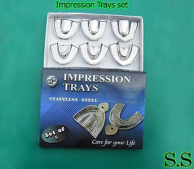 6 Dental Impression Trays set Solid Denture Instruments