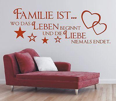 X189 Wandtattoo Spruch  Familie wo das Leben beginnt Liebe Sticker Wandaufkleber