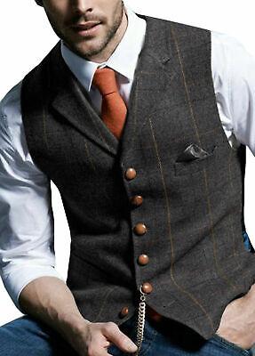 3XL Tops Wams Herren Leinen Tweed Weste Plain Anzug Hochzeit Formal braun Weste