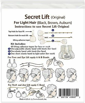 Instant Face, Neck and Eye Lift (Light Hair) Facelift Tapes & Bands Secret Lift 2