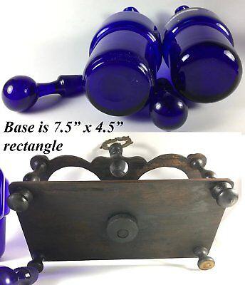 Antique French Enameled Cobalt Blue Glass Oil, Vinegar, in Original Wood Stand 6