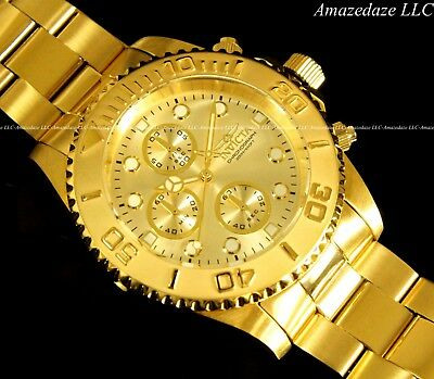 NEW Invicta Mens 18K Gold Plated Stainless Steel Golden Dial Chronograph Watch!! 3