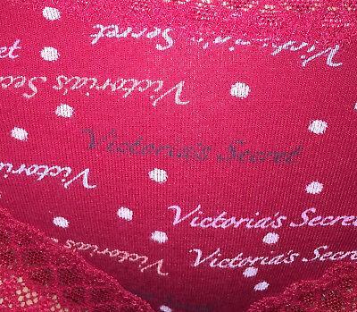 VTG Victoria's Secret Red Cotton Signature Print Lacy Cheeky Bikini Panties M 3