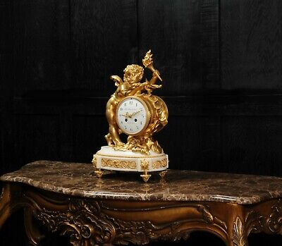 Superb Antique French Ormolu And White Marble Clock - Cupid 6