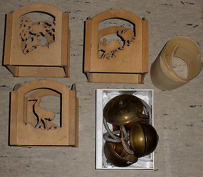 Lampe Holzlampe Deckenlampe Jagdmotive Hirsch Auerhahn Wildschwein Gemse 5